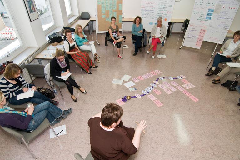 seminarsituation mit cluster-karten am boden - vogelperspektive, foto: bernhard lang