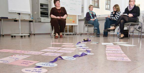 Seminarsituation mit Cluster-Karten am Boden