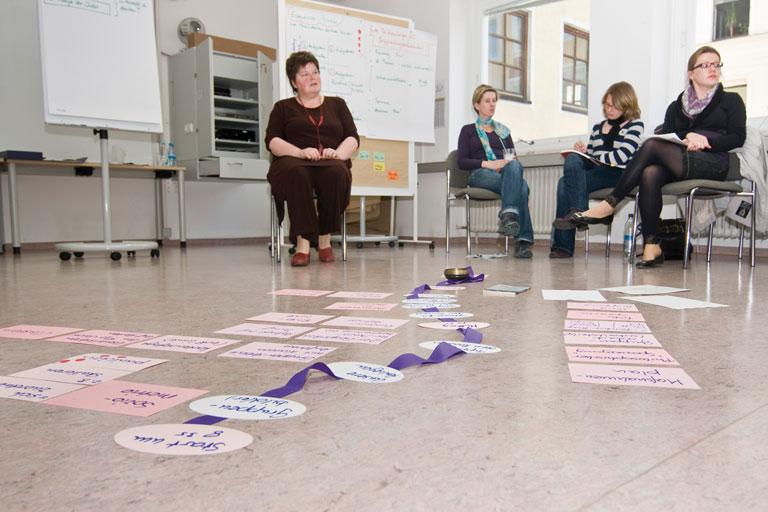 seminarsituation mit cluster-karten am boden, foto: bernhard lang
