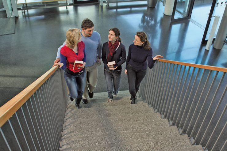 lehrerinnnen und lehrer gehen schultreppe hoch, foto: referat fuer bildung und sport