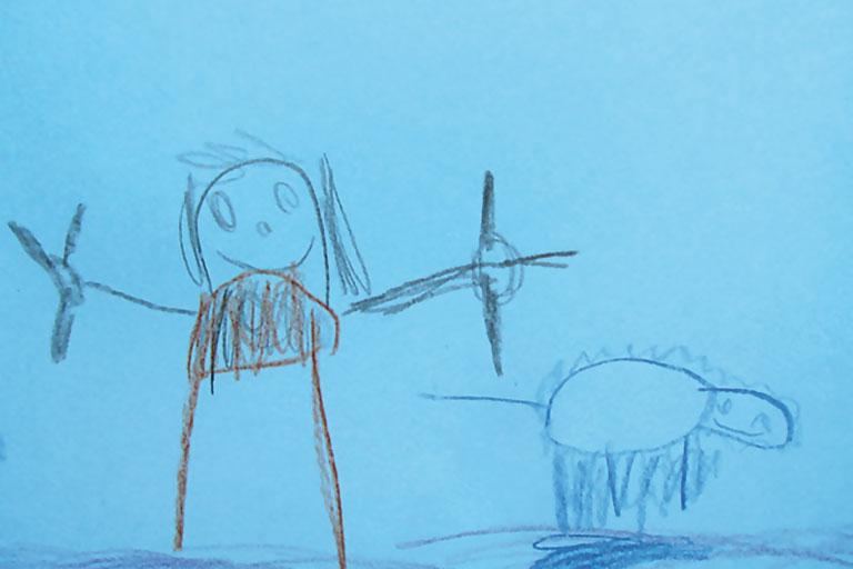 kinderzeichnung - ein schaf wird geschoren, kita-projekt, foto: paedagogisches institut