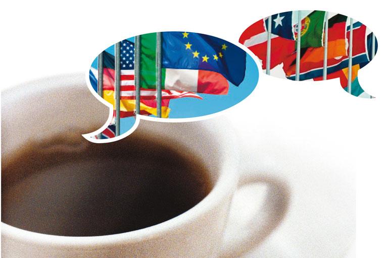sprachcafe international mit flaggen, foto: istock, andyworks