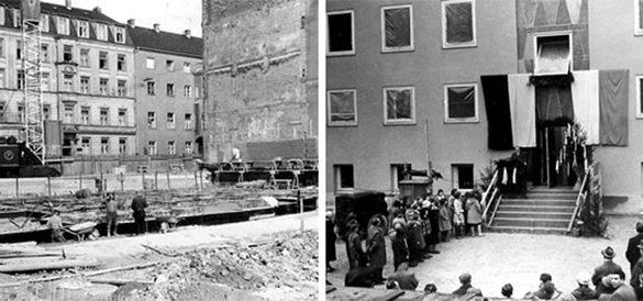 zwei historische bilder: bau und einweihung des paedagogischen instituts