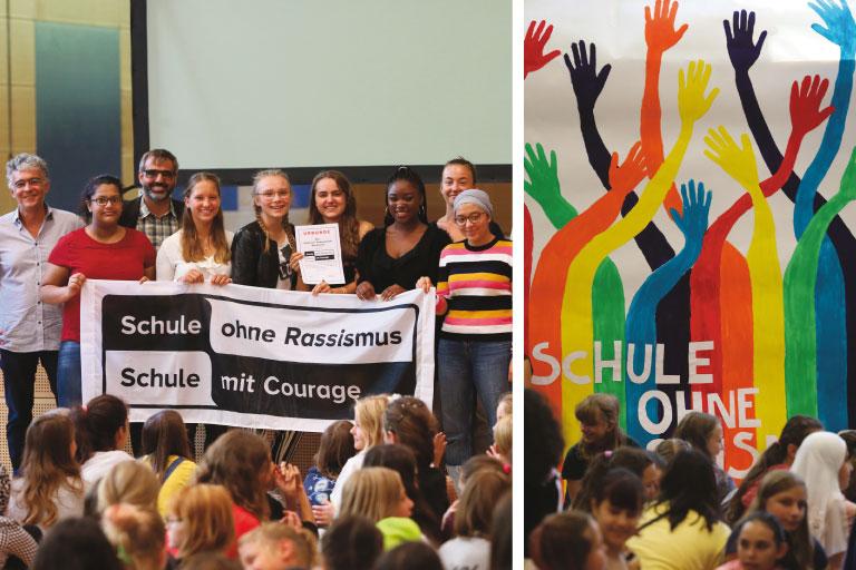 schule ohne rassismus, schulklasse mit banner auf der buehne, foto: paedagogisches institut