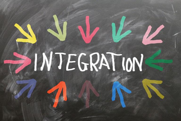 bute pfeile umrahmen das wort integration