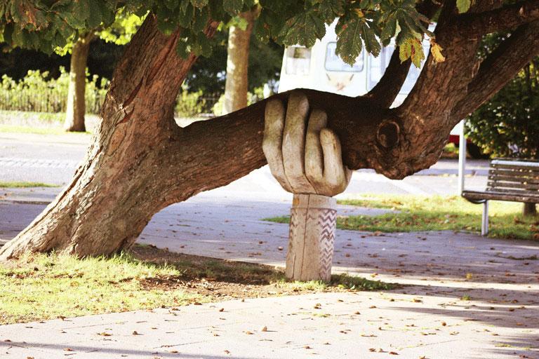 hoelzerne handskulptur stuetzt schweren ast eines eines baumes, foto: unsplash.com, neil-thomas