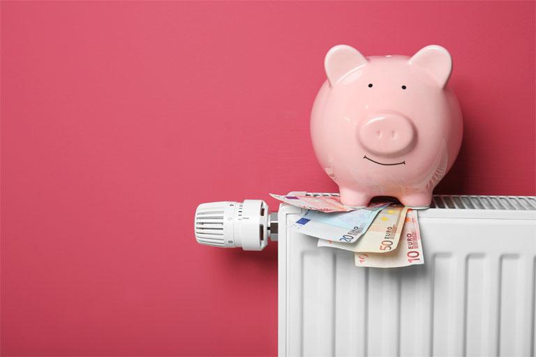 rosa sparschwein mit geldscheinen auf einem heizkoerper, foto: adobestock, africa studio