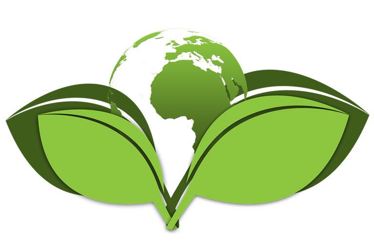 illustration globus zwischen gruenen blaettern, foto: gerd altmann auf pixabay